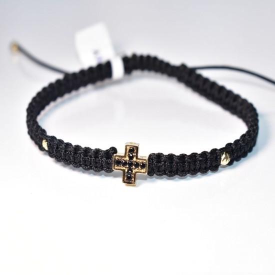 Златен кръст с черни циркони